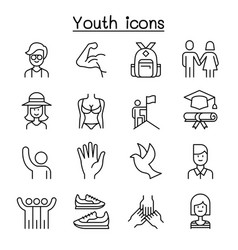 youth icon set in thin line style vector image