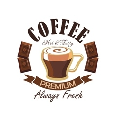 Coffee shop symbol with espresso and chocolate vector