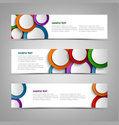 collection white banners with colorful circles vector image vector image