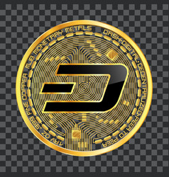 crypto currency dash golden symbol vector image vector image