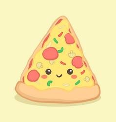 cute pizza slice food cartoon face vector image
