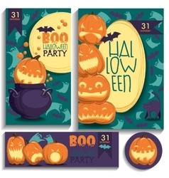 Halloween cards Pumpkins ghosts bats vector image