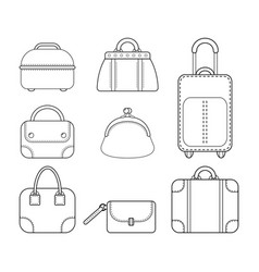 set of women handbags flat linear icon of a vector image