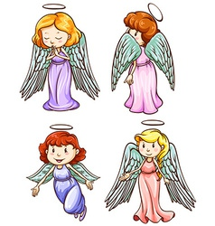 Simple sketches of angels vector