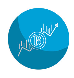 sticker financial arrow up to bitcoin currency vector image