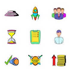 business card icons set cartoon style vector image