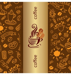 Coffee doodle background vector image
