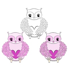 Cute pink owl with heart vector image vector image