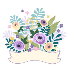 Flower ribbons banner pastel color vintage style vector