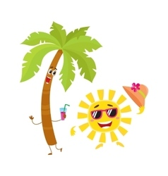 Funny palm tree and sun characters travelling vector image vector image