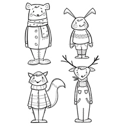 Hand drawn animals in clothes vector image vector image