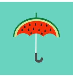 Big watermelon slice cut with seed Umbrella shape vector image vector image
