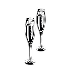 pair of champagne glasses vector image