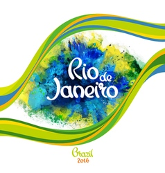 Rio de Janeiro on a background watercolor stains vector image