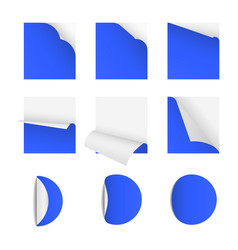 sticky note papers with page curl set of vector image