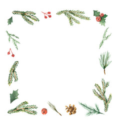 watercolor christmas frame with fir branches and vector image vector image