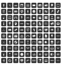 100 video icons set black vector image