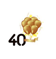 40 year anniversary black gold balloon template vector