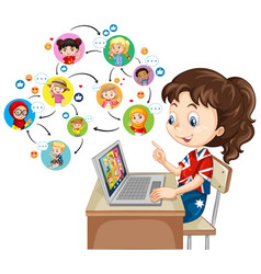 A girl using laptop for communicate video vector