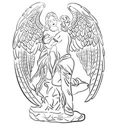 A sleeping angel on white b vector