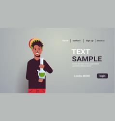 african american guy smoking cannabis marijuana vector image