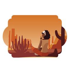 Afro woman contemplating horizon in desert vector