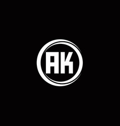 Ak logo initial letter monogram with circle slice vector