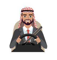 Arab businessman driving a car arab man clothing vector