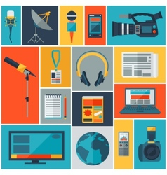 Background with journalism icons vector
