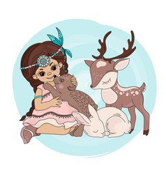 Bear kiss pocahontas indians princess illus vector