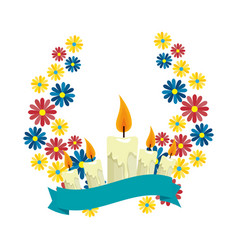 beautiful flowers wreath crown and candles vector image