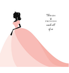 Beautiful princess silhouette in pastel pink dress vector