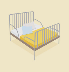Bed with pillows and blankets vector