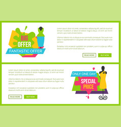 big fantastic offer only one day special price vector image