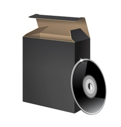 Black Glossy Package Box With DVD vector image