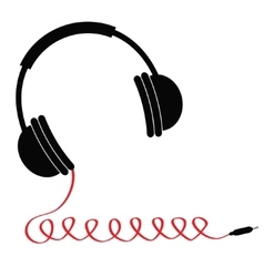 Black headphones with red spring cord music card vector