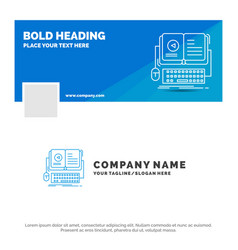 blue business logo template for book ebook vector image