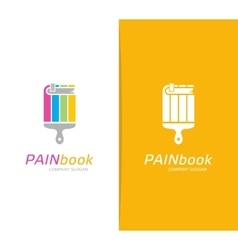 book and paintbrush logo combination vector image vector image