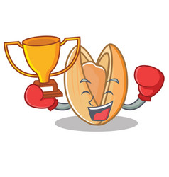 Boxing winner pistachio nut mascot cartoon vector