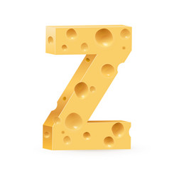 cheese font z letter on white vector image vector image