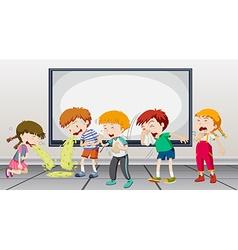 Children being sick at school vector