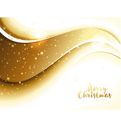 christmas decor with golden wave and stars vector image