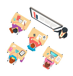 classroom top view children and teacher studying vector image