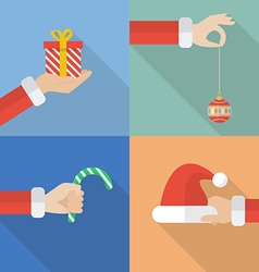 Collection set of Santa hand holding christmas vector image