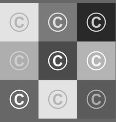 Copyright sign grayscale vector
