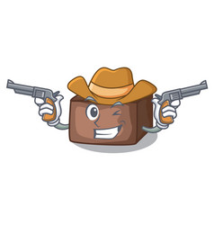 Cowboy character cartoon almond cake with caramel vector