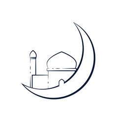 Crescent moon outline mosque design vector