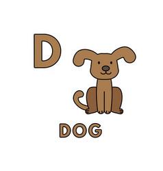 Cute cartoon animals alphabet dog vector