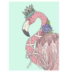 Cute flamingo with flower crown and ribbon vector