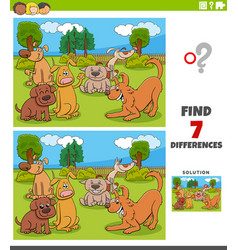 Differences game with cartoon dogs group vector